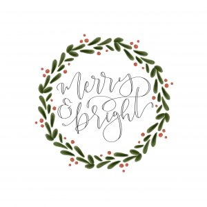 Merry&Bright Wreath Lettering